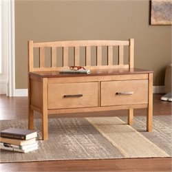 Bowery Hill 2 Drawer Storage Bench in Pine and Walnut