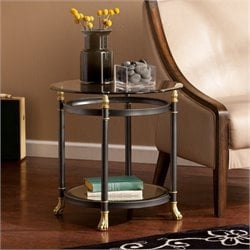 Bowery Hill Round Glass End Table in Gold