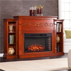 Bowery Hill Bookcase Electric Fireplace in Mahogany
