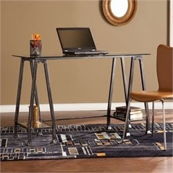 Bowery Hill Glass Top Writing Desk in Black and Silver
