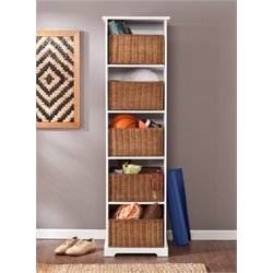 Bowery Hill Storage Cubby with Baskets in White