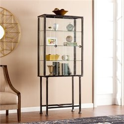 Bowery Hill Sliding Door Display Cabinet in Black