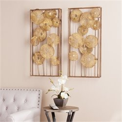 Bowery Hill 2 Piece Wall Sculpture in Metallic Gold