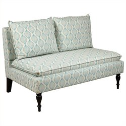 Bowery Hill Upholstered Bench in Cream and Blue