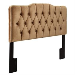 Bowery Hill King Velvet Upholstered Headboard in Bronze