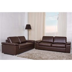 Bowery Hill 2 Piece Leather Sofa Set in Coffee
