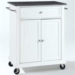 Bowery Hill Solid Black Granite Top Kitchen Cart in White