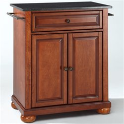 Bowery Hill Black Granite Top Kitchen Island in Cherry