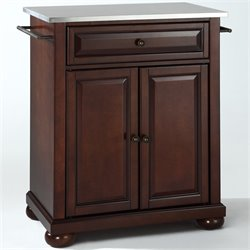 Bowery Hill Stainless Steel Top Kitchen Island in Mahogany