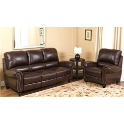 Bowery Hill 2 Piece Leather Sofa Set in Burgundy
