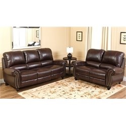 Bowery Hill 2 Piece Leather Pushback Reclining Sofa Set