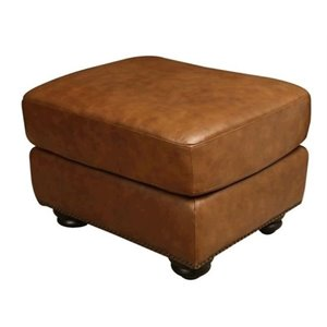 Bowery Hill Leather Ottoman in Camel Brown