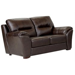 Bowery Hill Leather Loveseat in Espresso
