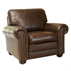 Bowery Hill Leather Accent Chair in Brown