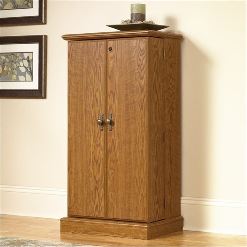 Bowery Hill Multimedia Storage Cabinet in Carolina Oak