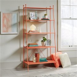 Bowery Hill 5 Shelf Bookcase in Coral