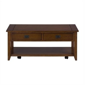 Bowery Hill Rustic Style Coffee Table in Mission Oak
