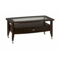 Bowery Hill Coffee Table with Chrome Casters in Merlot