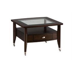 Bowery Hill Square Coffee Table with Chrome Casters in Merlot