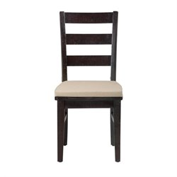 Bowery Hill Ladderback Dining Chair in Dark Wood (Set of 2)