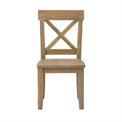 Bowery Hill X Back Dining Chair in Wood Grain (Set of 2)