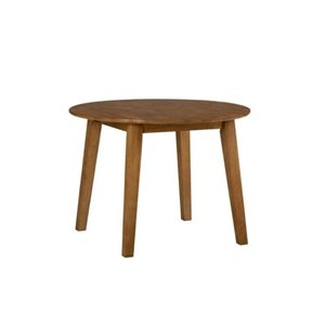 MER-1374 Bowery Hill Round Wood Dropleaf Dining Table in Honey/Espresso