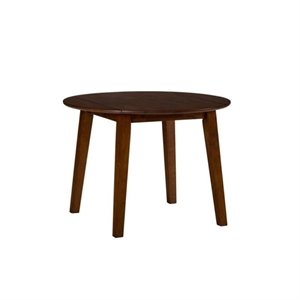 Bowery Hill Wood Round Dropleaf Dining Table in Caramel