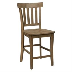Bowery Hill Pine Slat Back Counter Stool in Brown (Set of 2)
