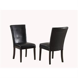 Bowery Hill Leatherette Parsons Dining Chair in Black (Set of 2)