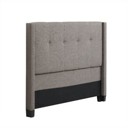 Bowery Hill Tufted Wingback Panel Headboard in Gray 491422 -1397