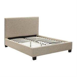 Bowery Hill Linen Platform Bed in Toast 491426 -1397