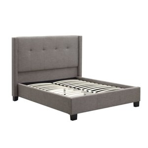 Bowery Hill Wingback Platform Bed in Gray 491428 -1397