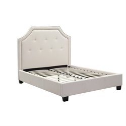 Bowery Hill Nailhead Platform Bed in Ivory 491430 -1397