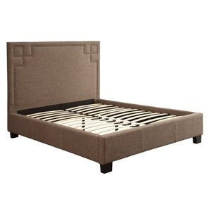 Bowery Hill Tufted Platform Bed in Gray 491431 -1397