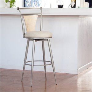 Bowery Hill Swivel Metal Bar Stool in Champagne -1397