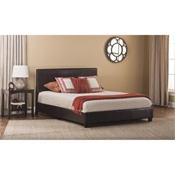 Bowery Hill Faux Leather Upholstered Panel Bed in Brown -1397