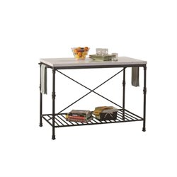 Bowery Hill Metal Kitchen Island in White Marble and Black