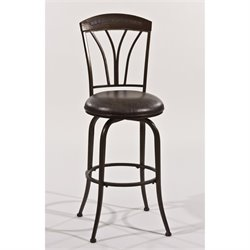 Bowery Hill Faux Leather Swivel Bar Stool in Pewter -1397