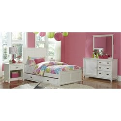 Bowery Hill Twin Panel Bedroom Set with Trundle in White -1397