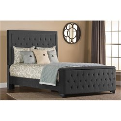 Bowery Hill Upholstered Storage Panel Bed in Pewter (no rails) -1397