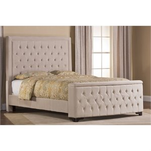 Bowery Hill Upholstered Storage Panel Bed with Rails in Buckwheat -1397