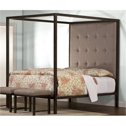 Bowery Hill Upholstered Queen Canopy Panel Bed in Aged Steel
