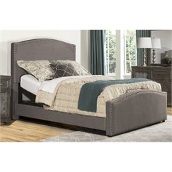 Bowery Hill Upholstered Adjustable Panel Bed with Rails in Orly Gray -1397