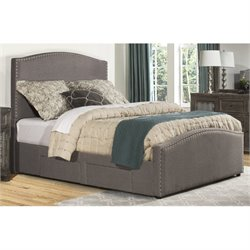 Bowery Hill Upholstered Storage Panel Bed with Rails in Orly Gray -1397