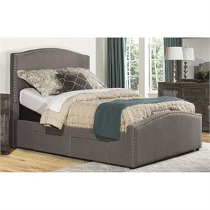 Bowery Hill Upholstered Adjustable Storage Panel Bed in Orly Gray -1397