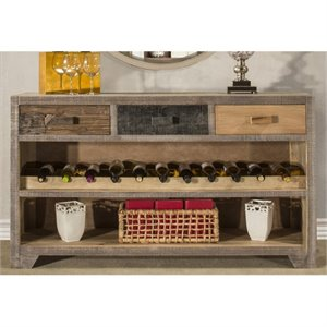 Bowery Hill Console Table with Wine Rack in Sand Brushed
