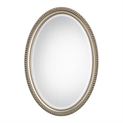 Bowery Hill Elnora Oval Mirror in Metallic Silver