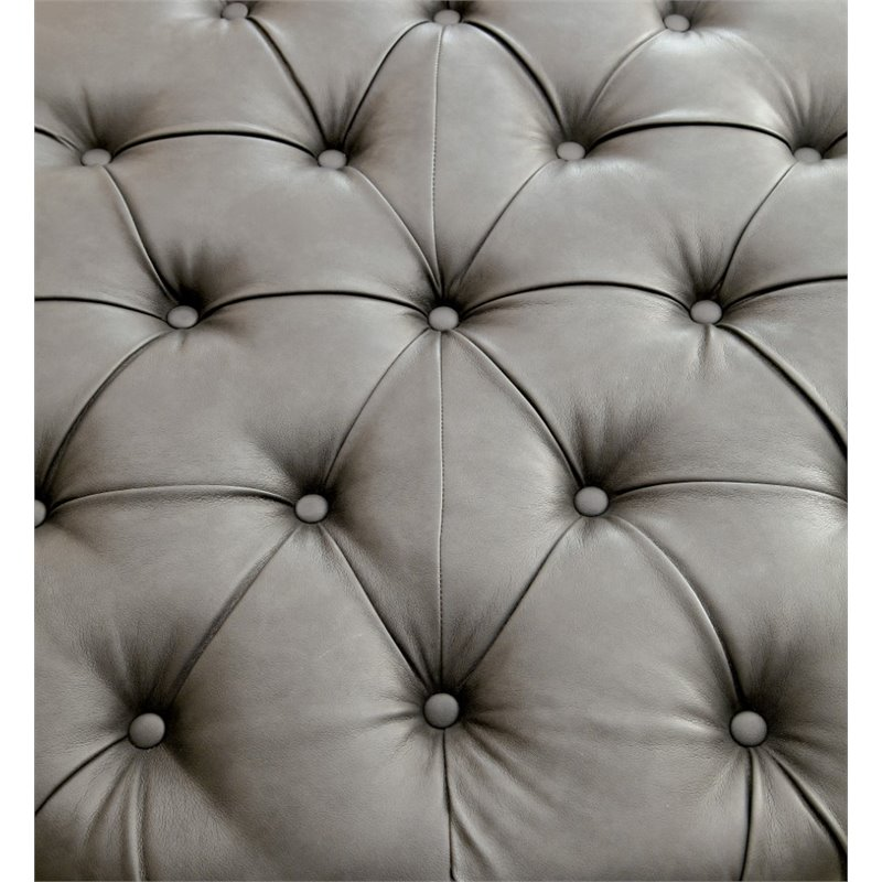 Bowery Hill Round Tufted Leather Ottoman in Gray