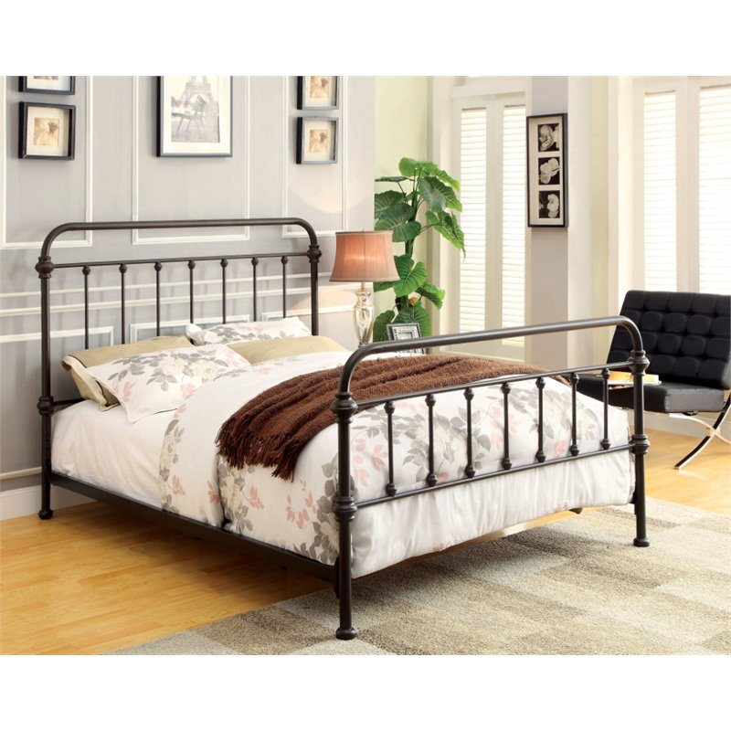 twin metal spindle bed in dark bronze