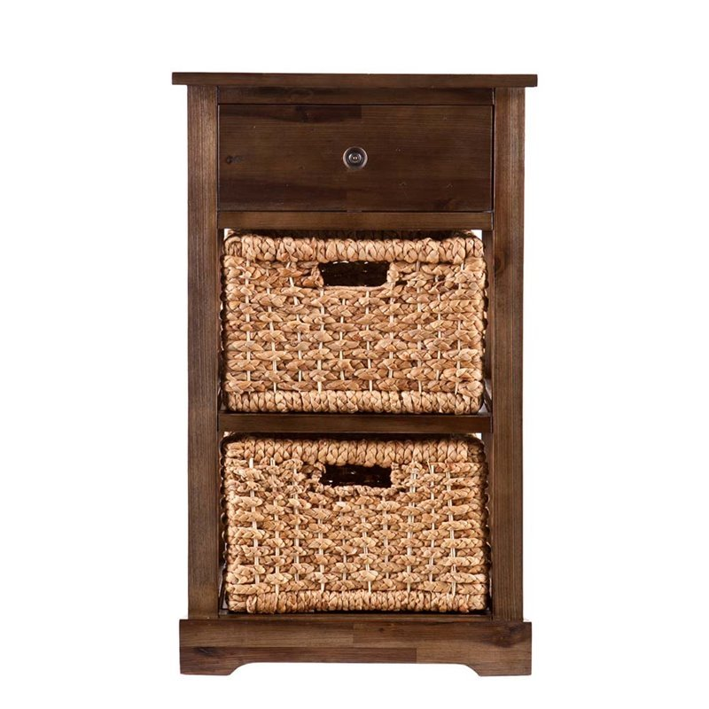 Bowery Hill 2 Basket Storage Unit in Antique Brown